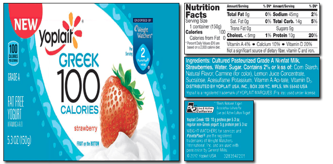 yoplait greek 100 yogurt nutrition